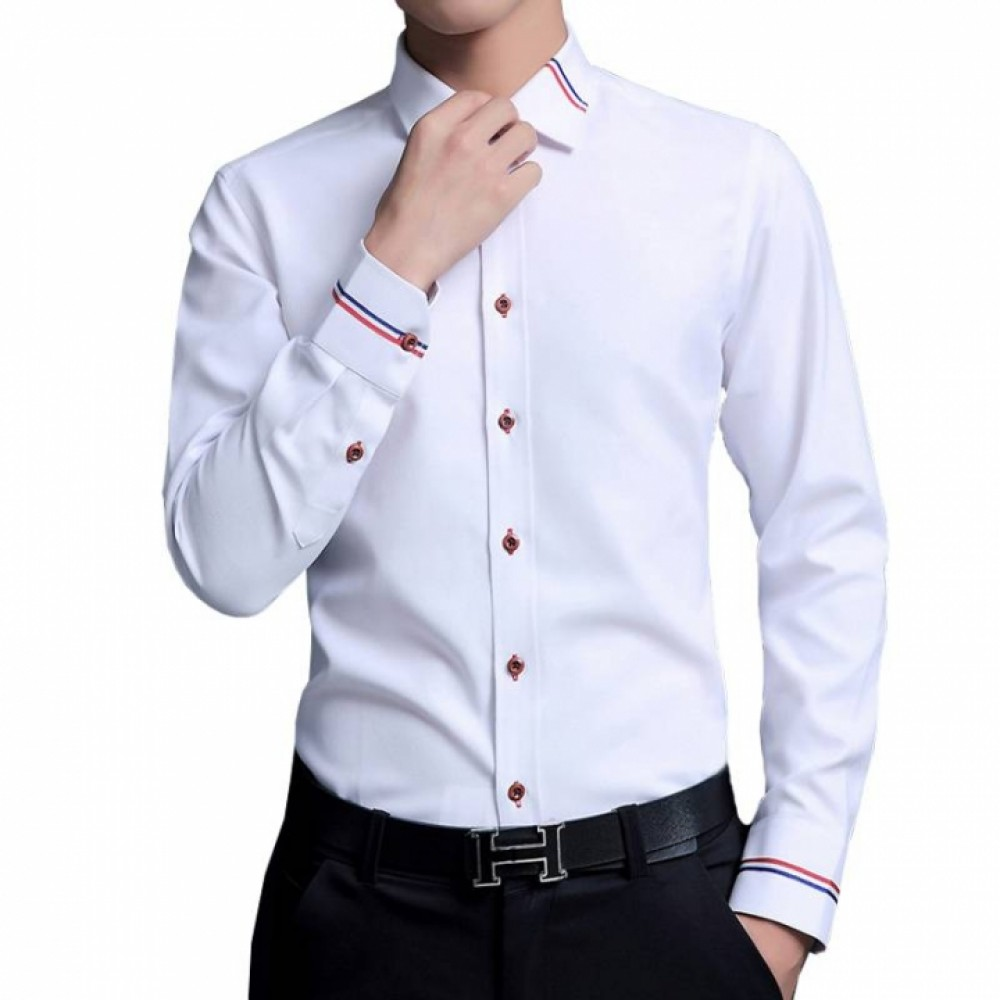 New Men Dress Shirts Brand Clothing Fashion Camisa Social Casual Men Shirt Slim Fit Long Sleeve white m