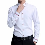 New Men Dress Shirts Brand Clothing Fashion Camisa Social Casual Men Shirt Slim Fit Long Sleeve white m