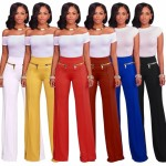 2018 New Fashion Stretch Wide Leg Pants Women Elastic Button Palazzo Long Casual Pants Trousers Red S
