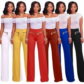 2018 New Fashion Stretch Wide Leg Pants Women Elas..
