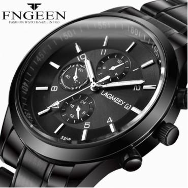 Luxury Men's Watch 30m Waterproof Date Clock Male Sports Watches Men Quartz Casual Wrist Watch black 25cm