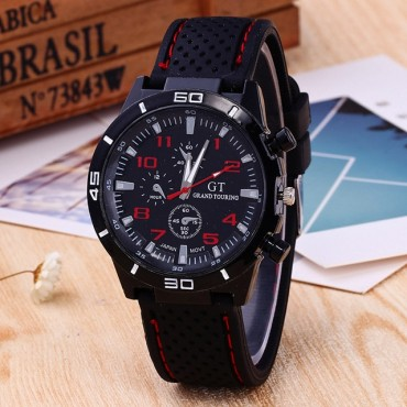 Mens Roman Numerals Black Ray Racing Silicone Glass Watches Man Luxury Analog Sport Wrist Watch Red One Size