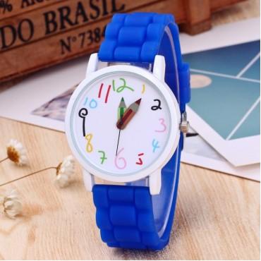 Fashion Silicone Kids Watch Children Girls Boys Students Quartz Wristwatches Baby Blue