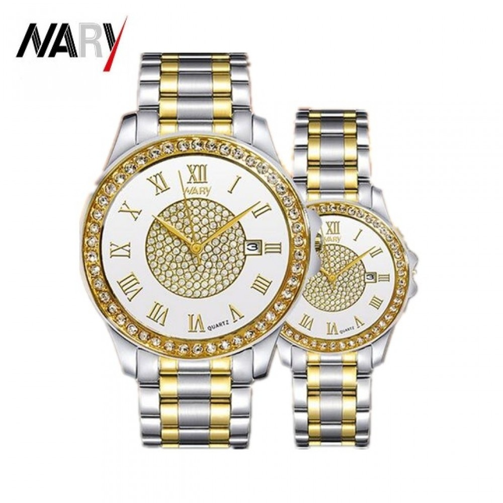 2Pcs/Set Couple Watches New Style Men's And Women's Watches Waterproof Quartz Watch gold&silver one size