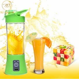 Mini Portable Juicer Cup Rechargeable Blender USB Juicer For Vegetables Fruit Reamers Bottle 380ml green