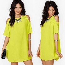 New Fashion Chiffon Shoulder Off Short Sleeves Dress For Women Clothes Yellow S