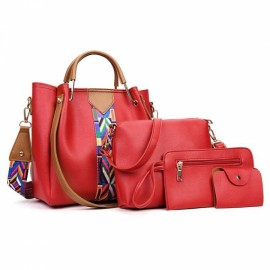 Joyism Handbags 4pcs Set Panelled Pattern Fashion ..