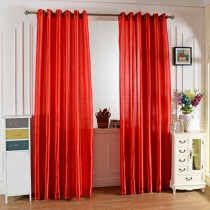 100 x 250CM Pure Color Grommet Ring Top Blackout Window Curtain for Bedroom Living Room RED 100*250cm