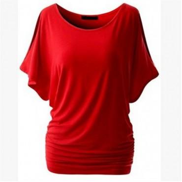 2017 New Cotton T-shirt Women Hot Tops Round Neck Bat Sleeve Tops T Shirt Casual Shirt red m