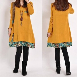 2017 New Winter Vintage Women Long Sleeve Tunic Kaftan Floral Loose Casual Mini Dress m yellow