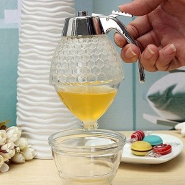 Honey Dispenser Jar Container Cup Juice Syrup Kettle Kitchen Bee Drip Stand Holder Storage Pot white one size