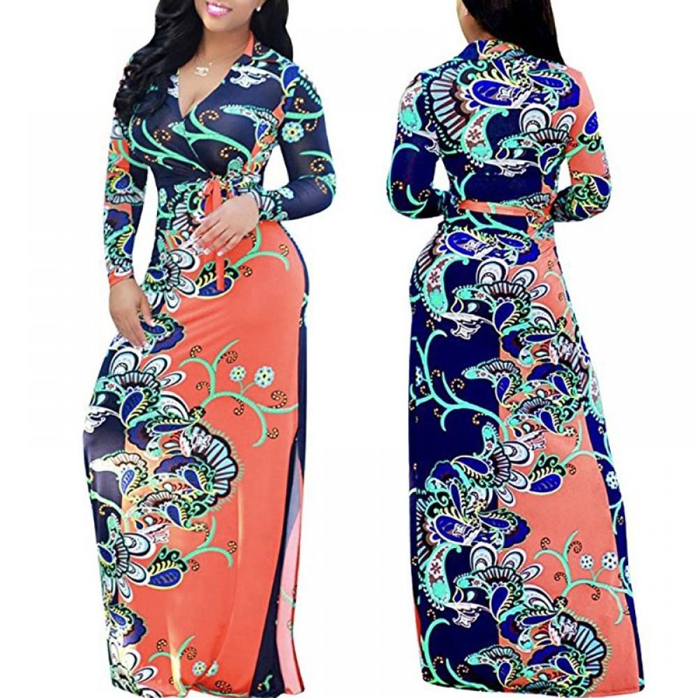 Autumn Winter African Print Maxi Long Dresses Women Vintage Retro Long Sleeve Dress Large Size xl
