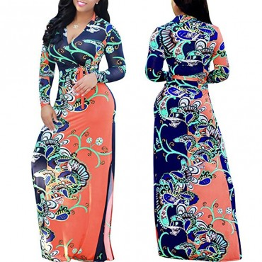 Autumn Winter African Print Maxi Long Dresses Women Vintage Retro Long Sleeve Dress Large Size xl