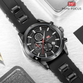 MINI FOCUS Top Luxury Brand Watch Famous Fashion Sports Men Quartz Watches Gift For Male MF0089G Black one size