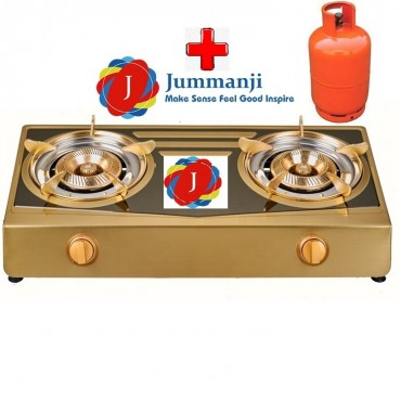 Jummanji Stainless steel 2 burner table top gas stove with a Gas Cylinder money back.