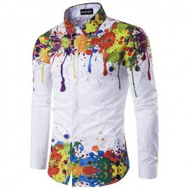Men's autumn/winter print 3D long sleeve shirt pic..