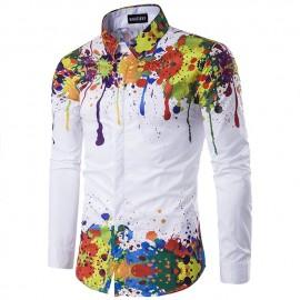 Men's autumn/winter print 3D long sleeve shirt pic..