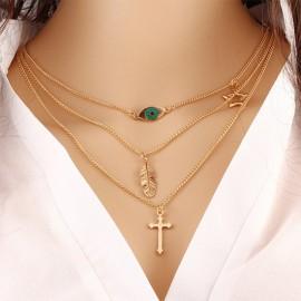Fashion Eye Leaves Clavicle Chain Multi Layers Cro..