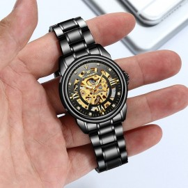 Men Stainless Steel Automatic Skeleton Mechanical Watches Mens Luxury Gold Mechanical Wrist Watch