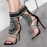 2018 Shoes Women Fashion Vintage Bling Hollow Out Summer Shoes Party Wear Flock Women High Heels