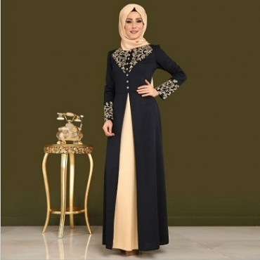 saudi turkish women muslim dress black  hot stamping printing abaya islamic spring autum