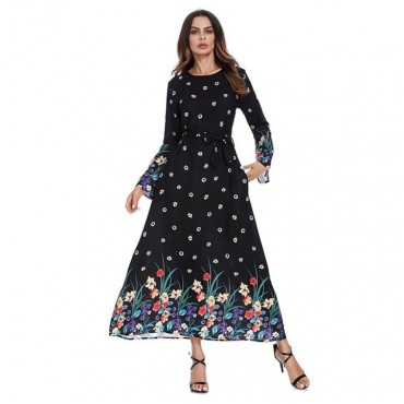 Dubai Sashes Dress Long Abaya O Neck Self Belt Flare Sleeve Elegant Women Floral Print Muslim Dre