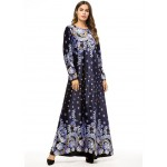 Fashion Muslim Womens Long Sleeve Printed Dress Abaya Plus size 4XL Islamic Turkey Dubai Kaftan C