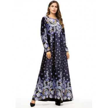 Fashion Muslim Womens Long Sleeve Printed Dress Abaya Plus size 4XL Islamic Turkey Dubai Kaftan C
