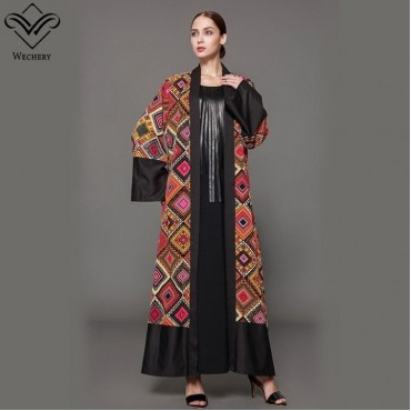 Fashion Plaids Abaya Plus Size M-5XL Loose Robes for Women Printed Luxury Abaya Dubai Eid Mubarak
