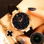 Female Women Watches Leather Luxury Brand Dress Quartz Clock Gold Starry Sky Wristwatch Girlfrien