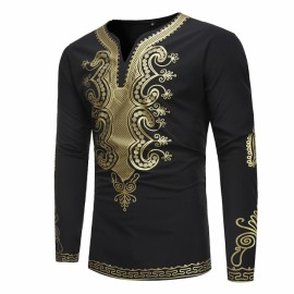 Printed Dashiki T Shirt Men 2018 Brand V Neck Lon..