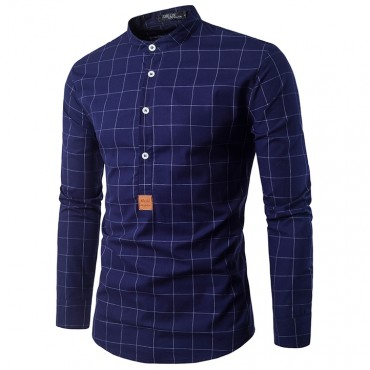 GustOmerD Fashion Small Label Sleeve Color Ribbon Design Men's Casual Long Sleeve Shirt navy size m 50 to 58kg