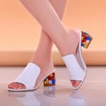 2017 New Fashion Women Sandals Ladies Summer Slippers Shoes Women high Heels Sandals white 35