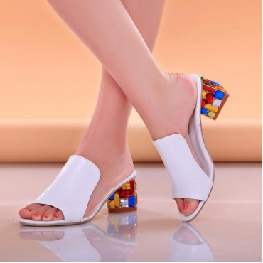 2017 New Fashion Women Sandals Ladies Summer Slippers Shoes Women high Heels Sandals white 35