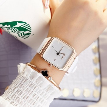 Hot Women Silicone Square reloj mujer Luxury Dress Watch Ladies Quartz Rose Gold Wrist Watch white