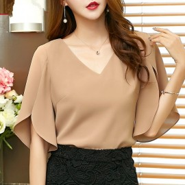 Summer casual solid women Chiffon Shirt Female but..