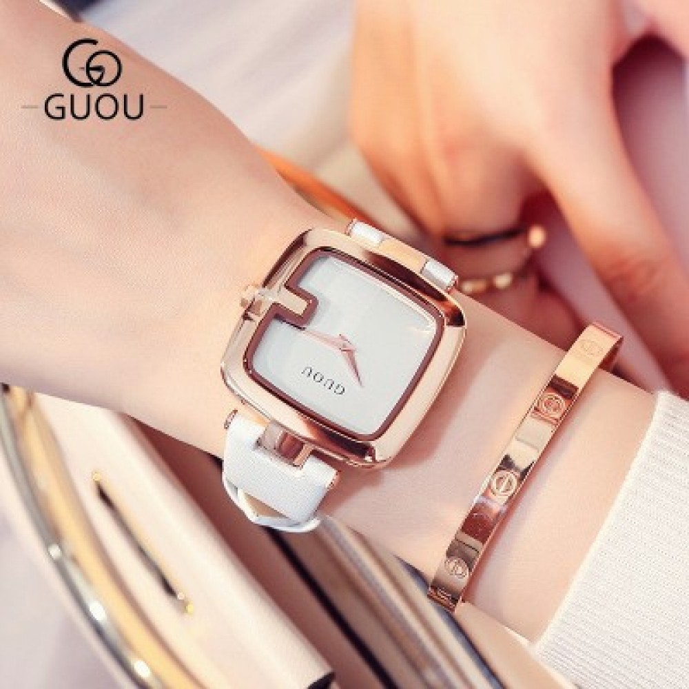 Ladies Watches For Women Watch Women Top Brand Luxury Leather Square Clock relogio feminino saat white