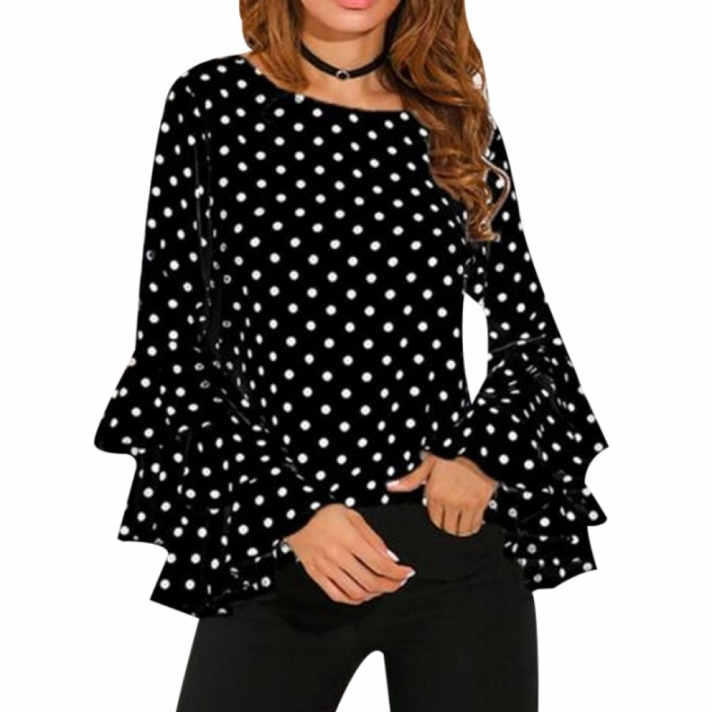 Elegant Polka Dot Print Flare Sleeve Women Blusas Shirts O-neck Long Sleeve Chiffon Blouse Tops black s