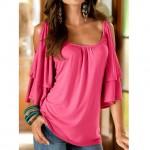 Fashion Women Cold Off Shoulder Ruffle Long Sleeve Casual Tops Tee Blouse Shirt Women Stylish Tops rose red xl