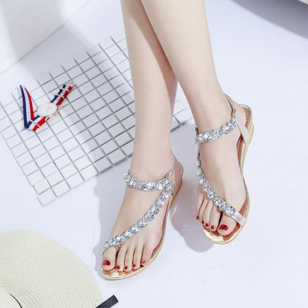 2018 Women sandals summer high quality concise women wedge shoes crystal decor Bohemia sandals gold 35