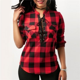 Women Plaid Shirts Long Sleeve Blouses Shirt Offic..