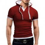 Men Tshirt Summer Casual Hooded Tees Hot Sale Short Sleeve T-Shirt Homme Slim red