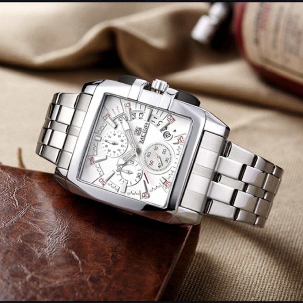 MEGIR 2018 Luxury Quartz Men Watch Stainless Steel Strap Business Watches Chronograph Wristwatches white as picture