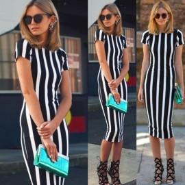Women Striped Fitness dresses Work Style Sexy Short Sleeve Sheath Office Midi dress black xl