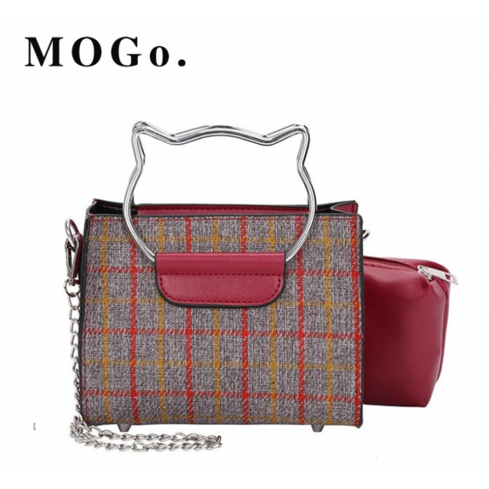 2 Pcs/Set Ladies Metal Chain Cat Ear Handle Handbag Casual Messenger Women Shoulder Bags B034 red one size