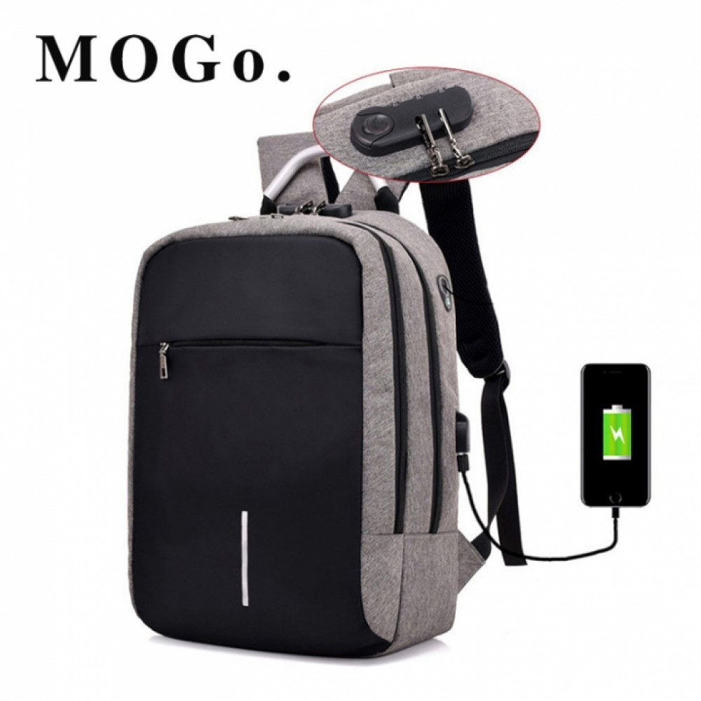 MOGO Laptop Backpack External USB Charge Computer Backpacks Anti-theft Bags For Men Women Bags MG005 Gray 15inch
