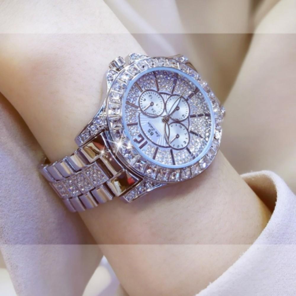 Bs Women Fashion Brand Diamond Dress Wristwatches Ladies Luxury Business Quartz Watches silver