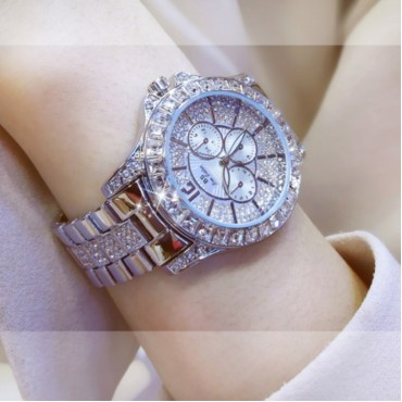 Bs Women Fashion Brand Diamond Dress Wristwatches Ladies Luxury Business Quartz Watches silver