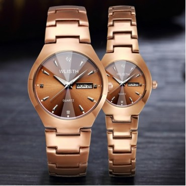 Wlisth Men Women Fashion Watch Alloy Double Calendar Waterproof Lovers Quartz Watches Brown Men