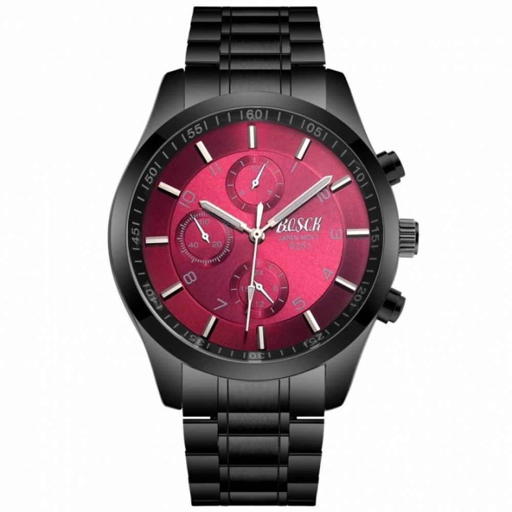 Bosck Men Brand Sports Watch Stainless Steel Watchband Waterproof Male Quartz Watch Red one size